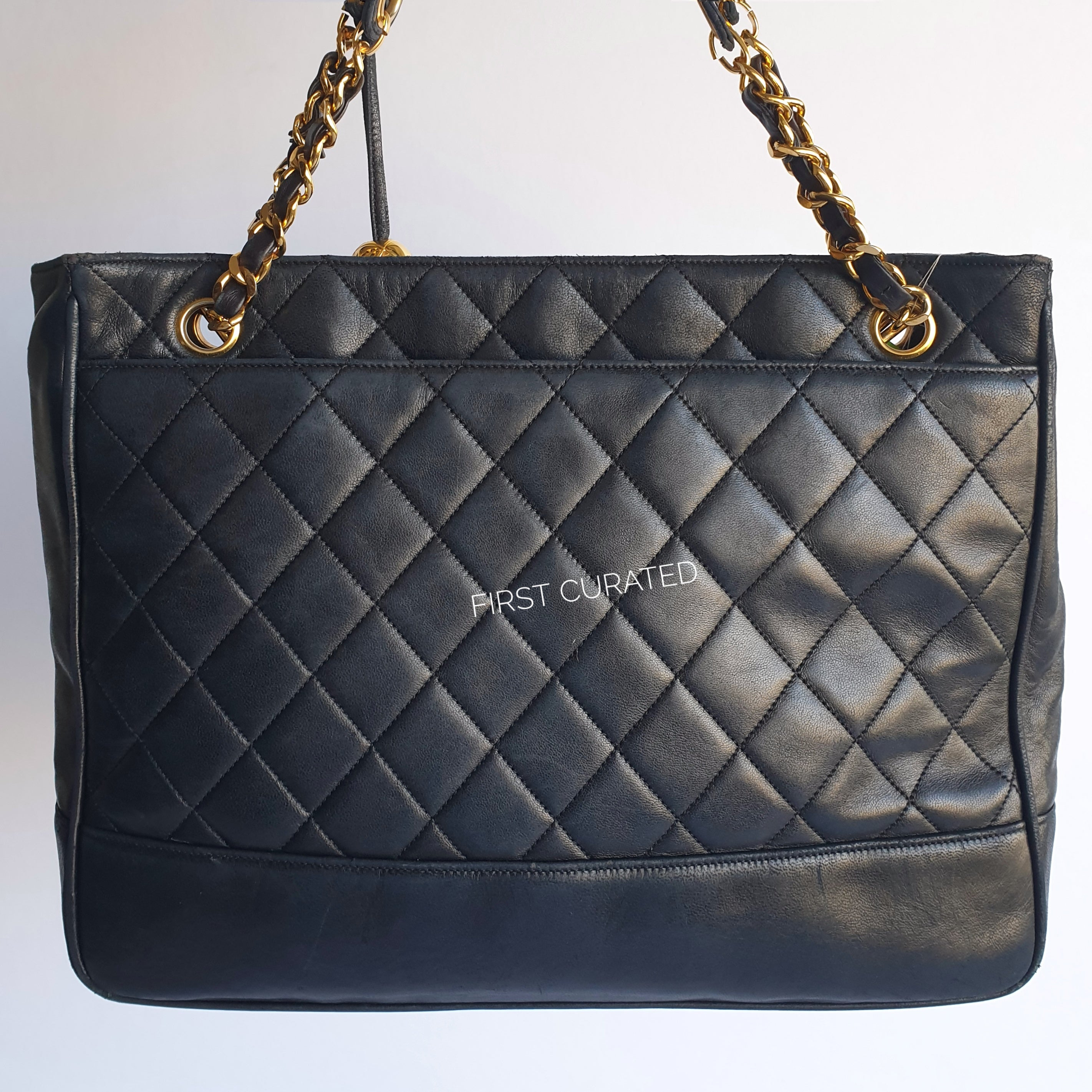 Chanel Navy Blue Lambskin Shoulder Tote with Ball Charm