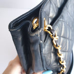 Load image into Gallery viewer, Chanel Navy Blue Lambskin Shoulder Tote with Ball Charm