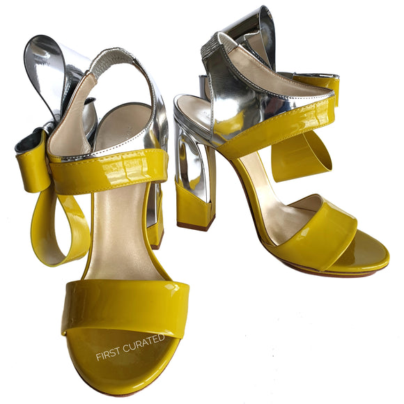 Delpozo Yellow & Silver Bow Heels, size 38