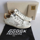 Golden Goose Superstar with Nude Lizard Print Accent, size 38