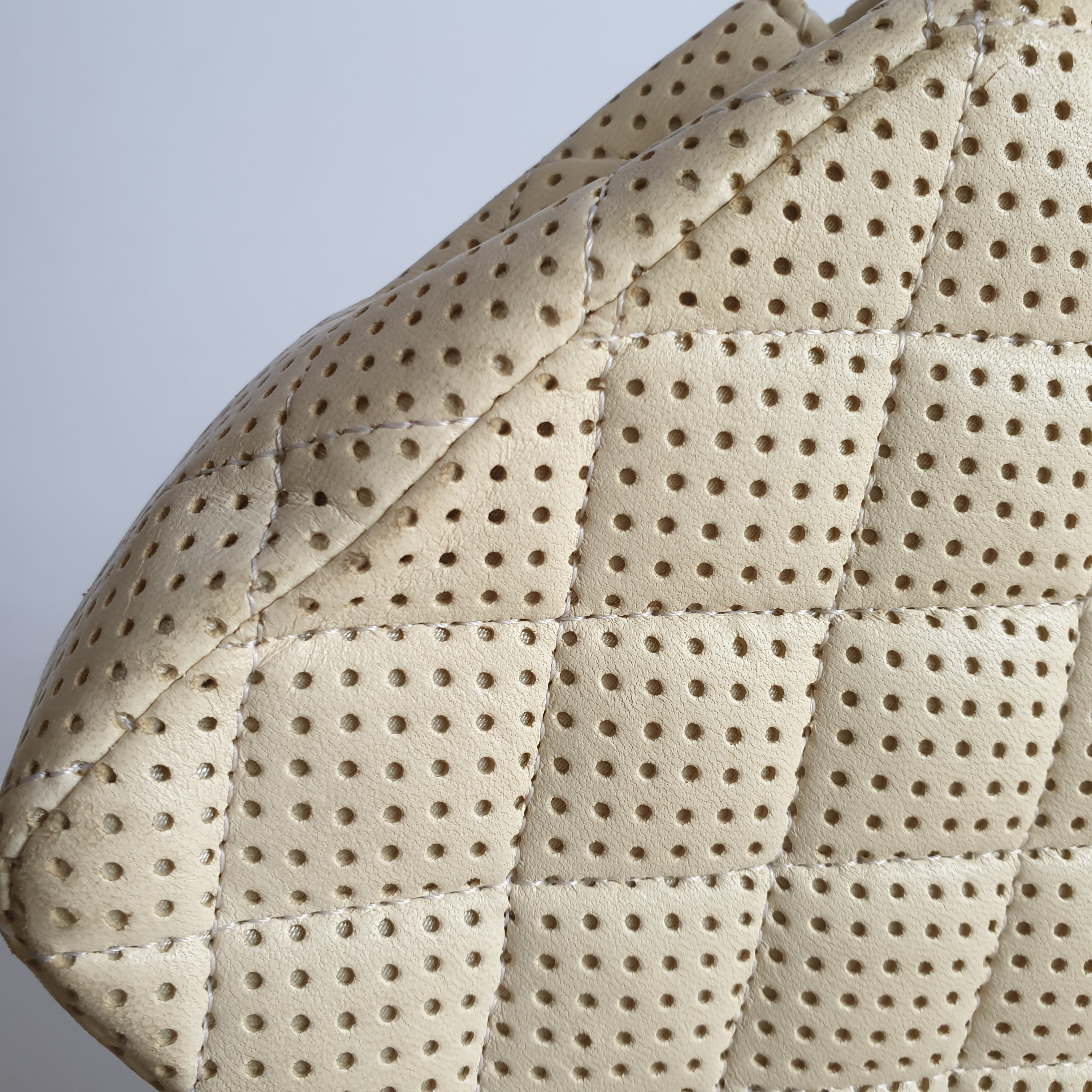 Chanel White Perforated Flap
