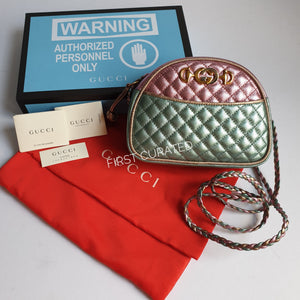 Gucci Metallic Multicolor Laminated Leather Crossbody - Pink and Seafoam