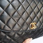Load image into Gallery viewer, Chanel Black Lambskin Vintage Flap