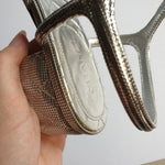 Load image into Gallery viewer, Chanel Silver Block Heels, Size 38.5