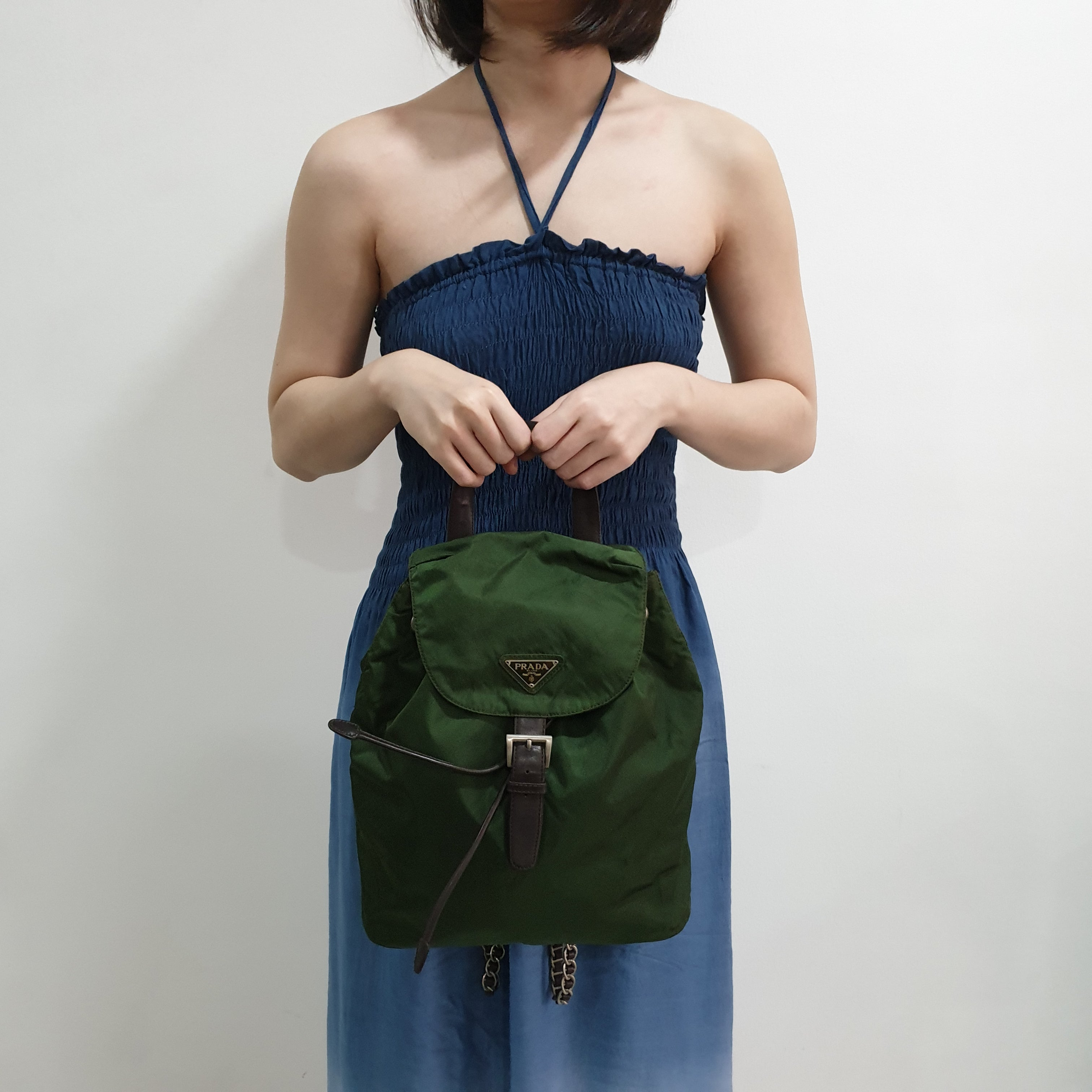 Prada Nylon Backpack with Chain Strap Detail