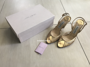 Jimmy Choo Gold Sandals, Size 39