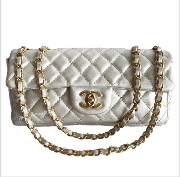Chanel Silver Lambskin Flap Bag