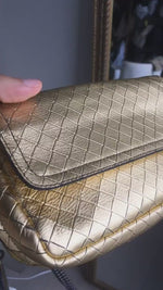 Load and play video in Gallery viewer, Bottega Veneta Gold Intrecciato Sling