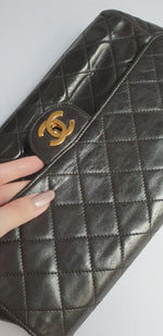 Load and play video in Gallery viewer, Chanel Black Classic Flap Clutch