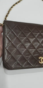 Load and play video in Gallery viewer, Chanel Brown Full Flap Bag