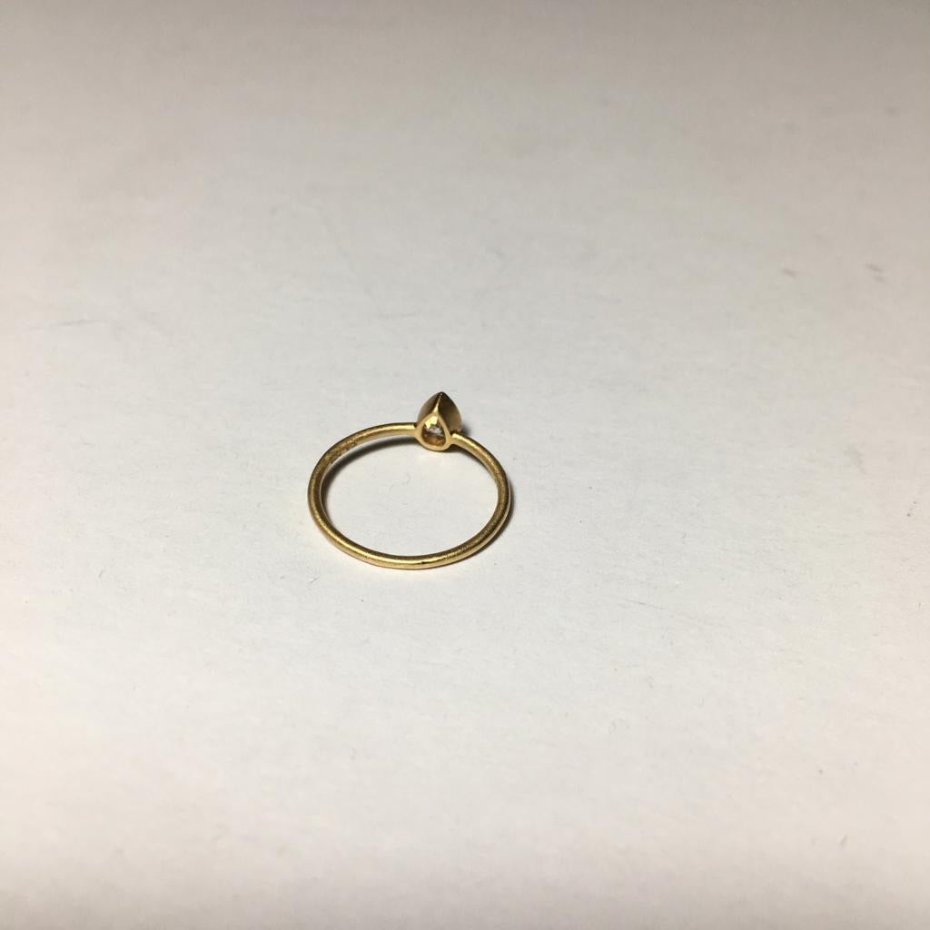 Minimalist Pear Diamond Ring by Sowi