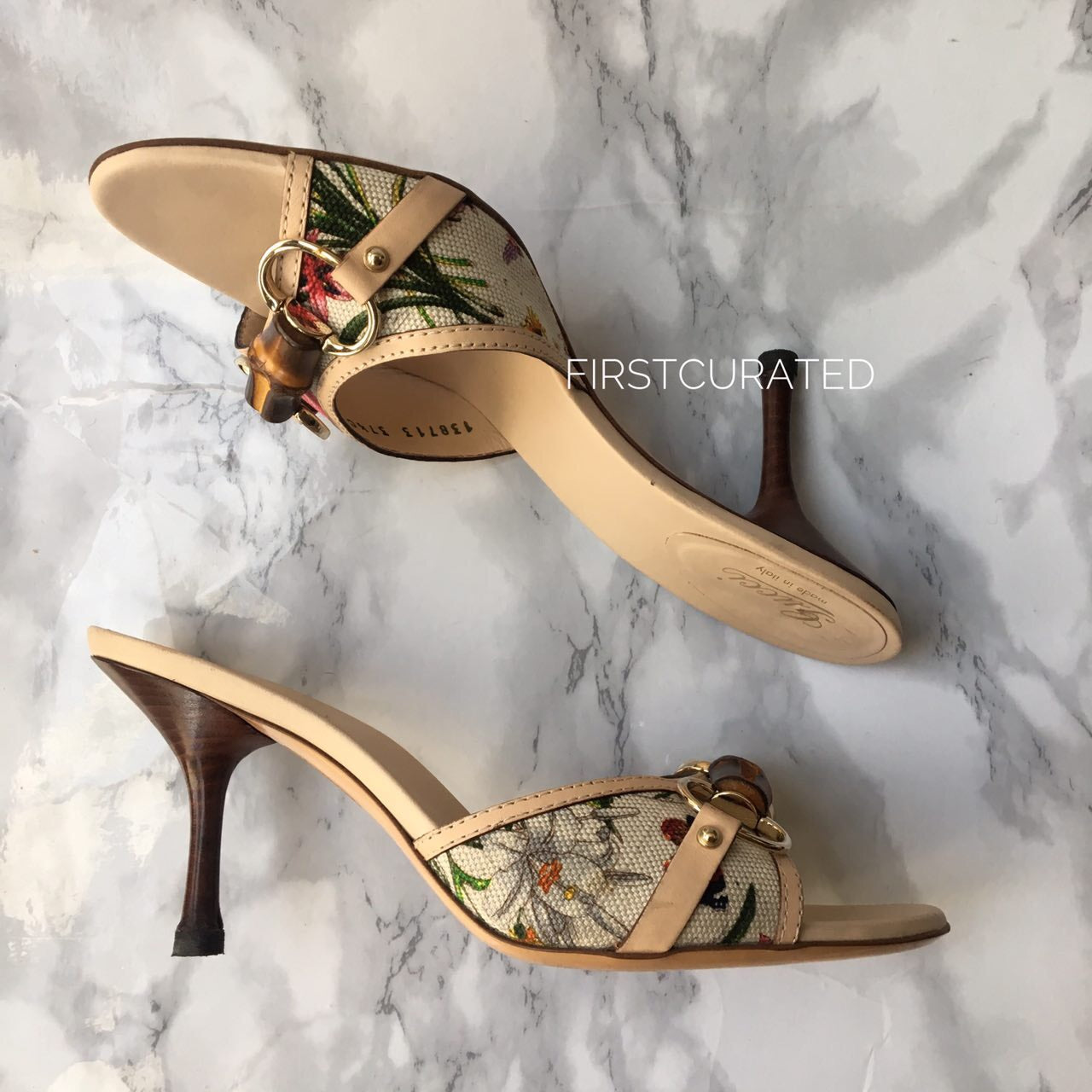 Gucci Limited Edition Floral Bamboo Slides, size 37.5