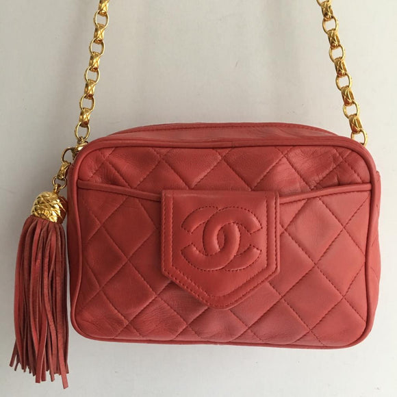 Chanel Coral Camera Bag with Tassel and Vintage Bijoux Chain