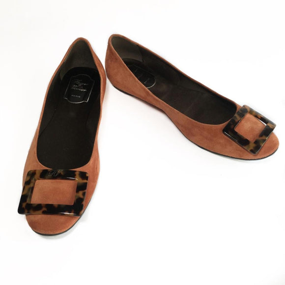Roger Vivier Suede Chips with Tortoiseshell Buckle, size 38