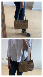 Load image into Gallery viewer, Chanel Tan Quilted Shoulder Tote