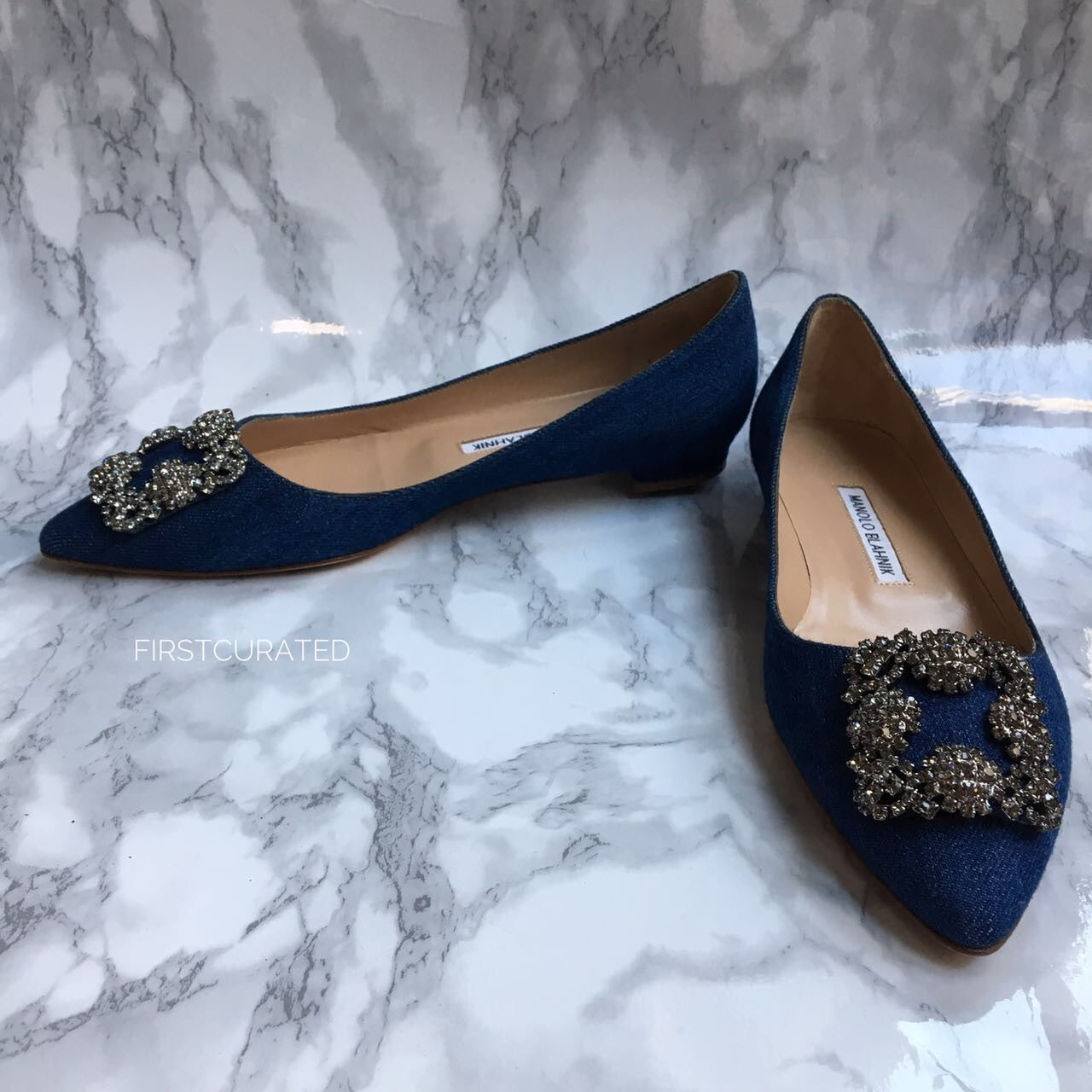 a64f8815bc65 ... sale manolo blahnik hangisi blue jean flats size 38.5 91036 df5a6