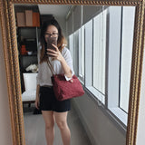 Chanel Bordeaux Suede Purse with Tasseled Zip