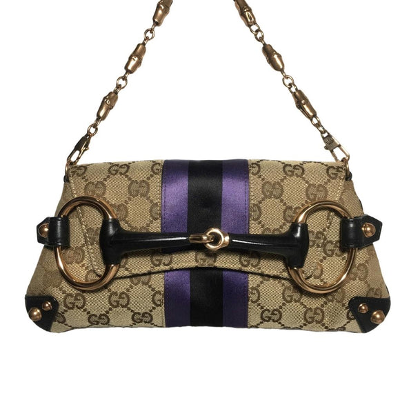 Gucci Monogram Horsebit Clutch with Violet and Black Grosgrain Details