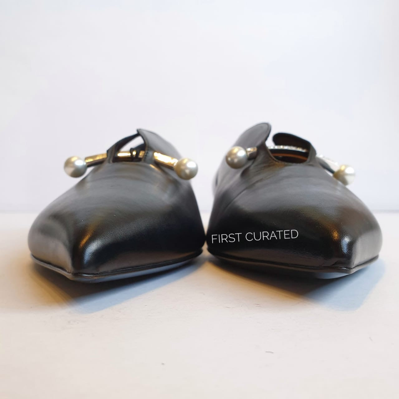 Coliac Black Flats with Pearl Detail, size 39