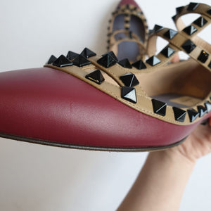 Valentino Bordeaux Caged Rockstud Flats, size 37.5