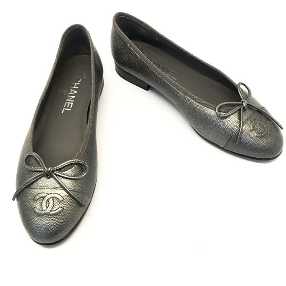Chanel Anthracite Caviar Ballerina Flats, size 36.5