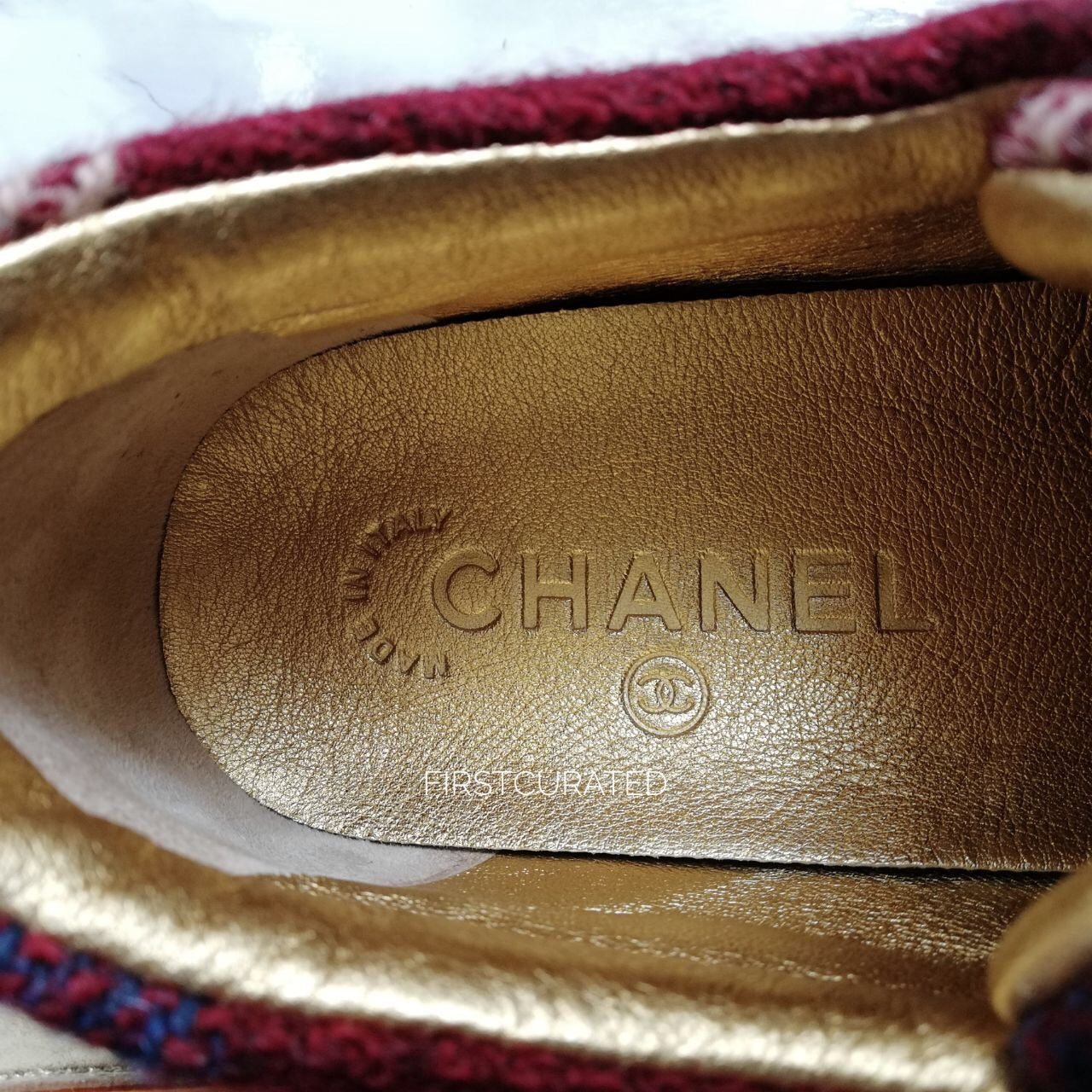 Chanel Tweed and Metallic Sneakers, Size 37
