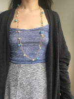 Load image into Gallery viewer, The Imogen: Rose Gold-Toned Necklace with Freshwater Pearls and Turquoise-Hued Beads