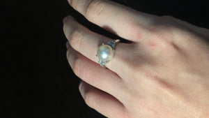 Pearl and Diamond Ring, Set in Platinum