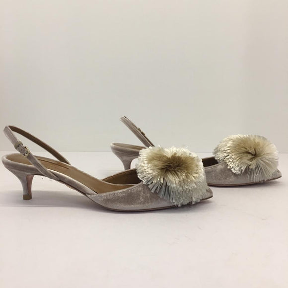 Aquazzura Pompom Kitten Heeled Slingbacks, size 36.5