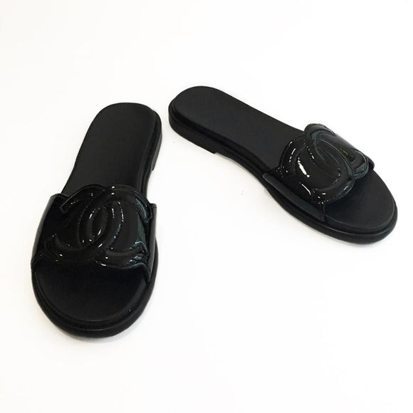 Chanel Black Patent Leather Pool Slides, size 38.5