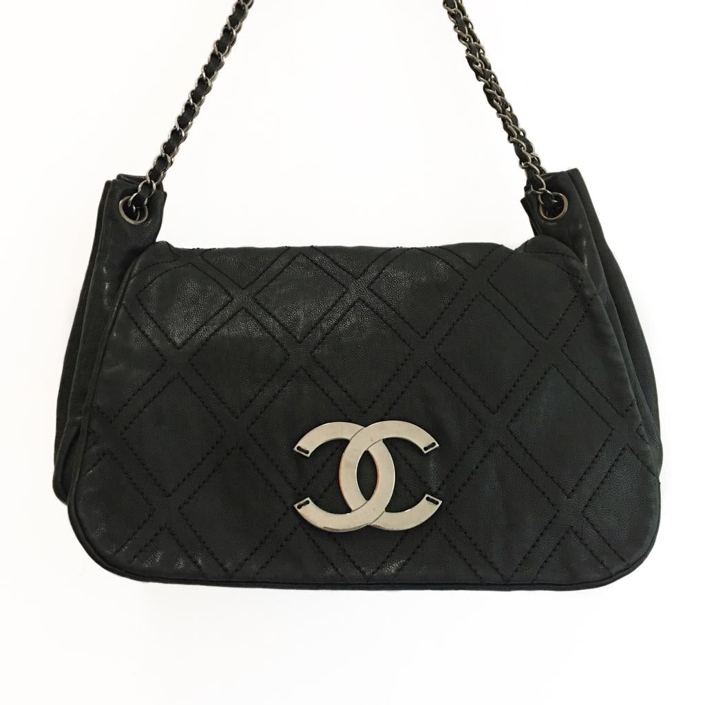Chanel Black Flat-Quilted Shoulder Purse