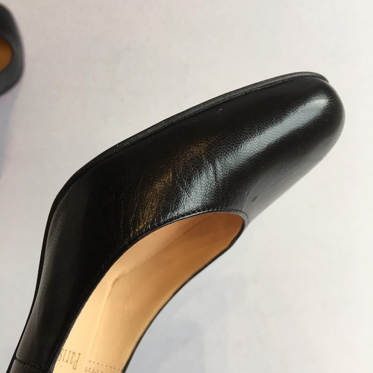 Christian Louboutin Miss Gena Black Kid Leather Heels, 85mm, size 34.5