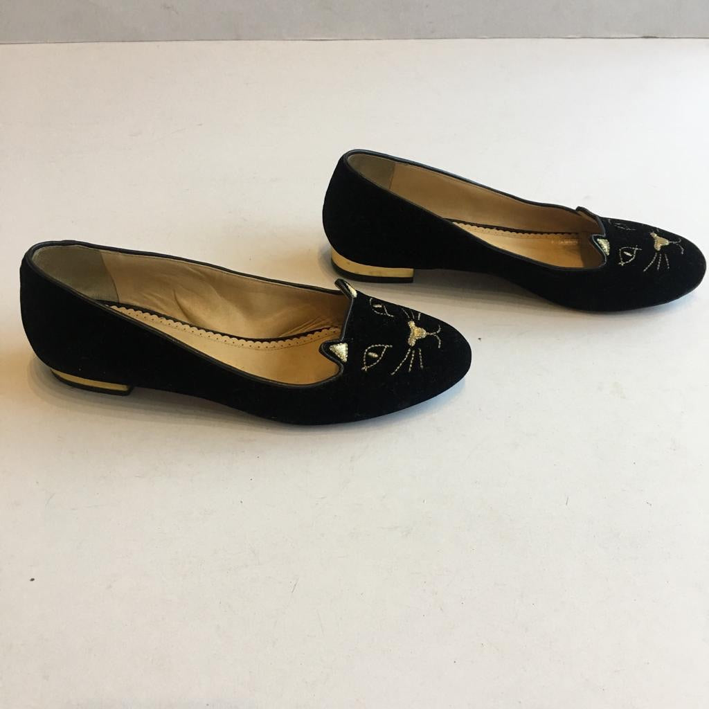 Charlotte Olympia Kitty Flats in Black & Gold, size 37.5