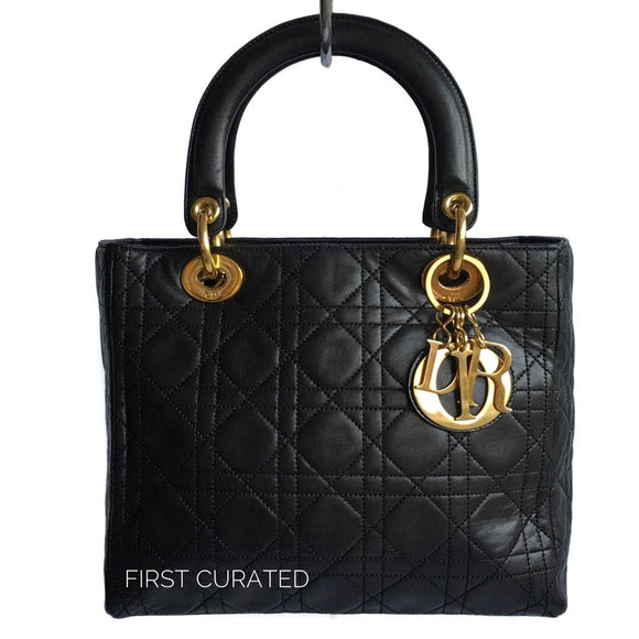 Christian Dior Black Lady Dior Handbag