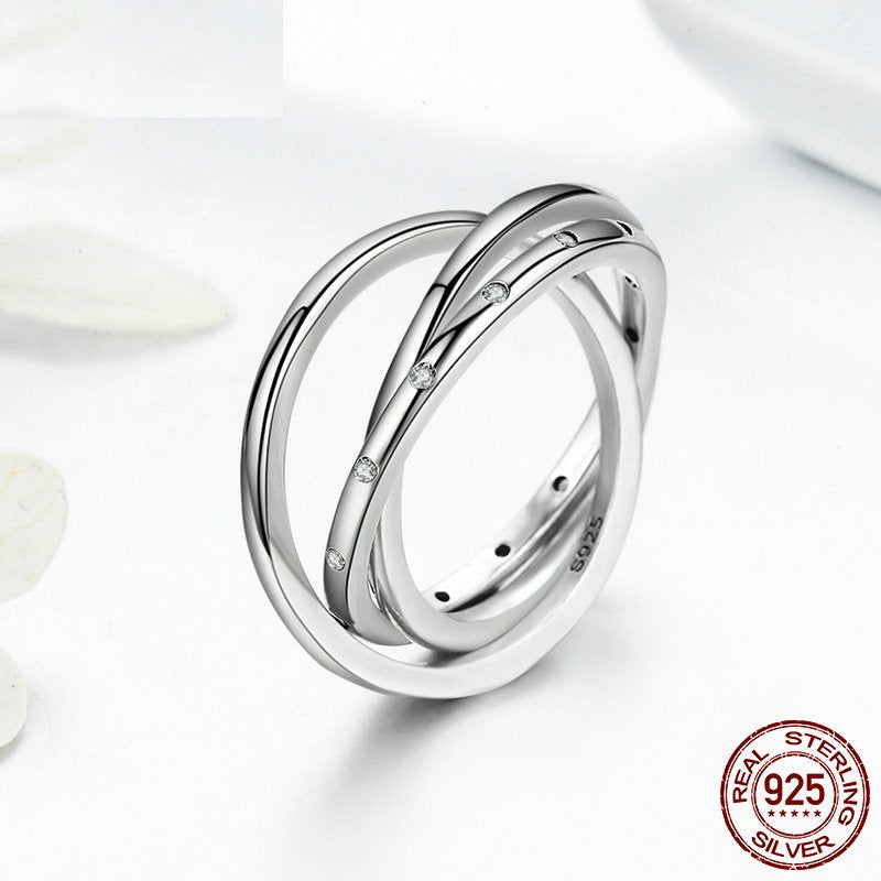 Women's Elegant Multilayered Ring with 3 Circles, Crafted From Silver and Paved with Crystals