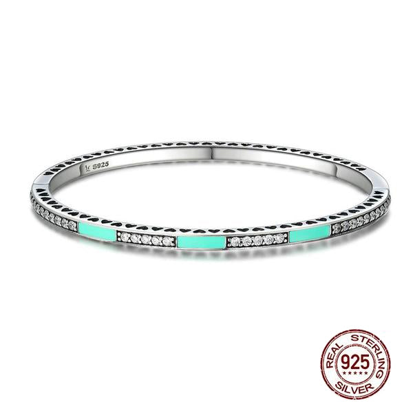 Cute Bangles with Hearts, Crafted from Silver - Cool Green