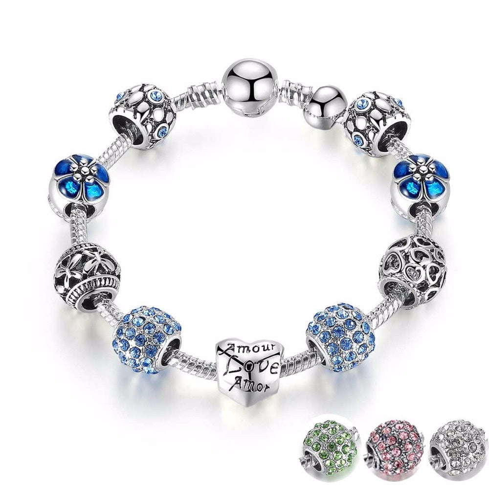 3 Colors of Silver Plated Openwork Heart Charm Bracelet with Murano Beads