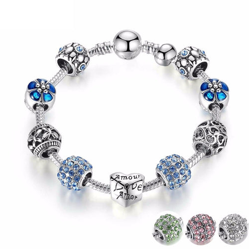 Silver Plated Openwork Heart Charm Bracelet with Murano Beads
