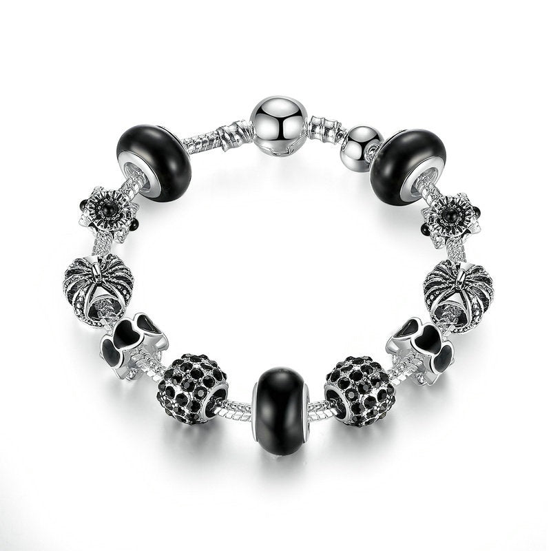 High Quality Silver Plated Charm Bracelet with Murano Beads and Crystals