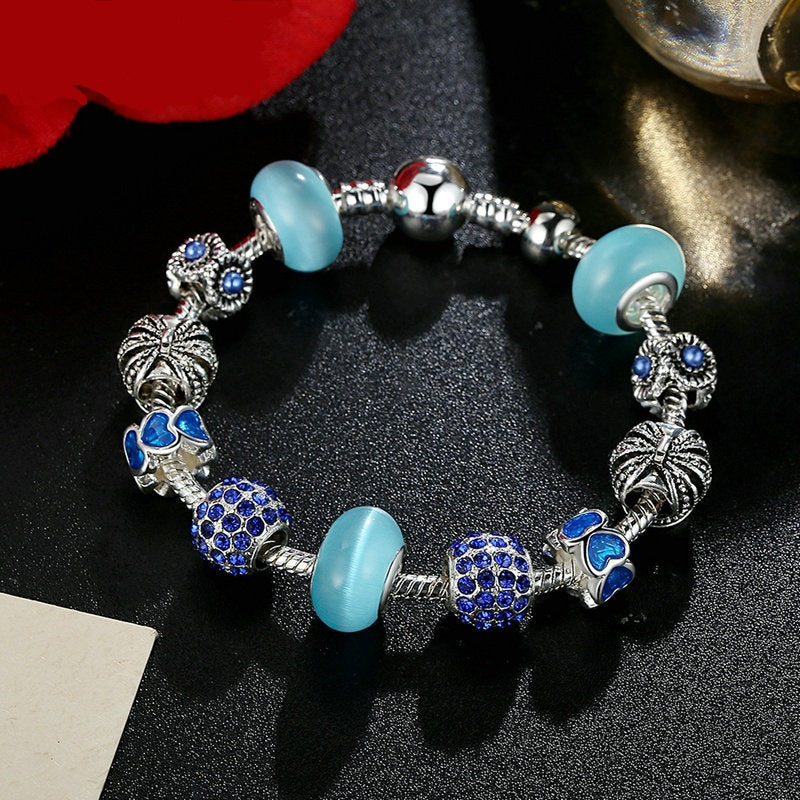 4 Color Variants of Women's Eye Catching Charms Bracelet With Lovely Colorful Beads