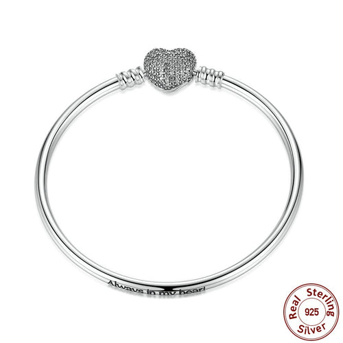 Lovely Bangles Crafted from Silver with a Crystals Paved Glowing Heart in 3 sizes