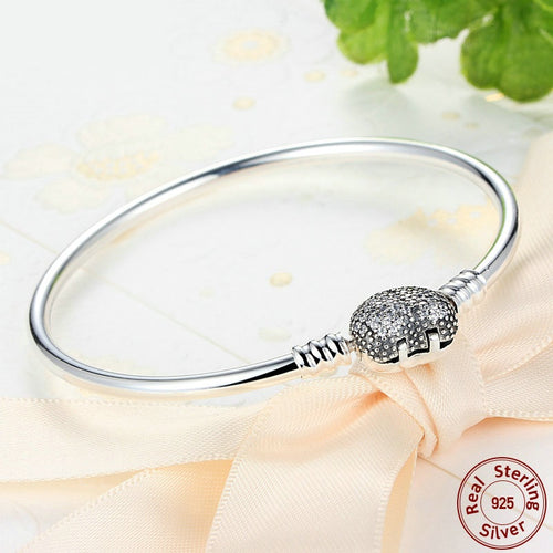 Silver Bangles with a Crystals with Heart