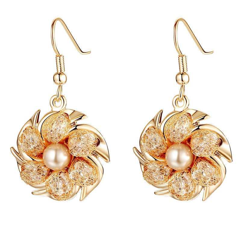 Champagne Gold Color Drop Earrings with Simulated Pearl For Women ...