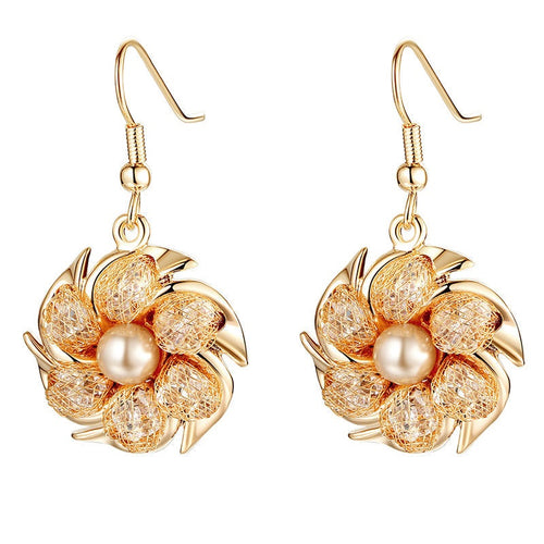 Women's Lovely Gold Plated Floral Drop Earrings with Pearl