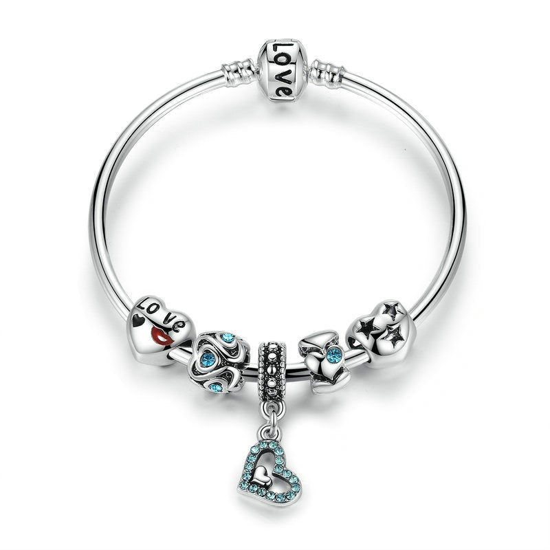 Women's Lovely Charm Bracelet with cute Heart Pendant and Crystal Beads