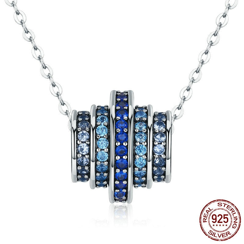 Stunning designer pendant necklace with elegant gradient blue color stunning designer pendant necklace with elegant gradient blue color crystals crafted from silver aloadofball Image collections
