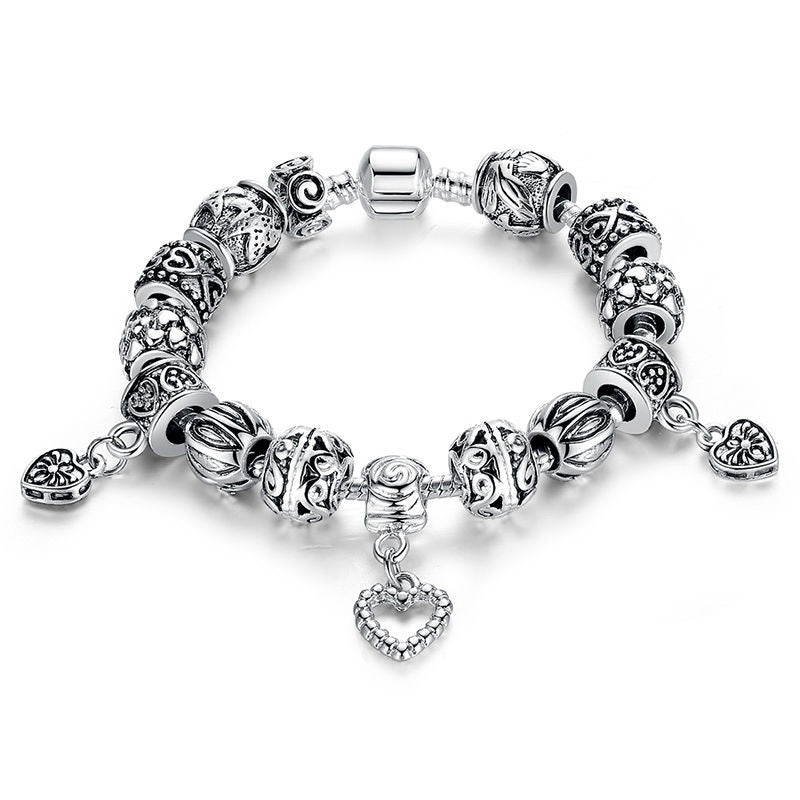 Elegant Vintage Style Bracelets with 3 Heart Pendants