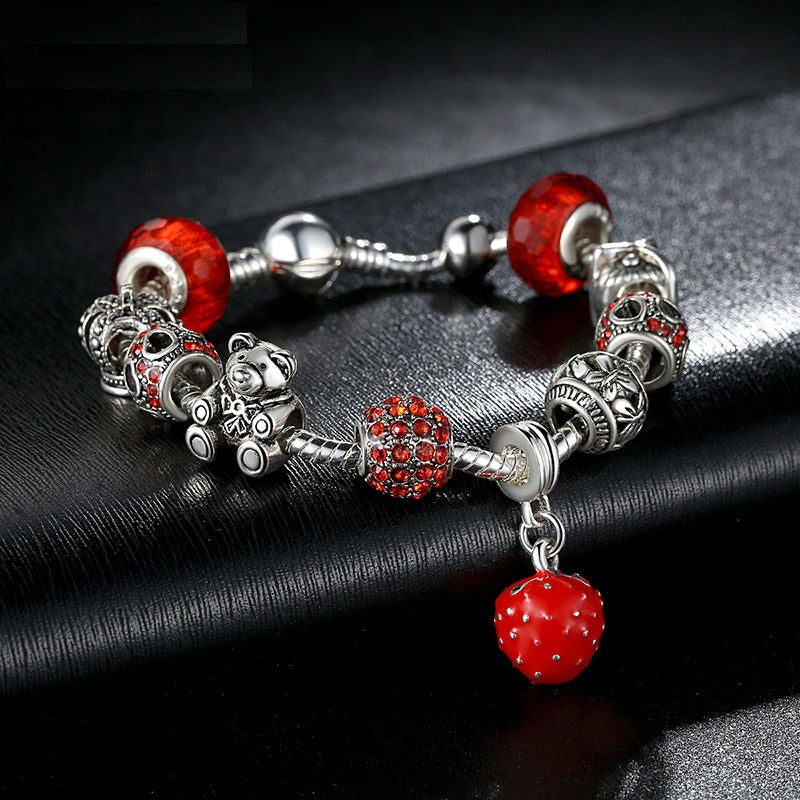 Silver Plated Charm Bracelet with Crown & Bear Charm and Heart Crystal Red Murano Glass