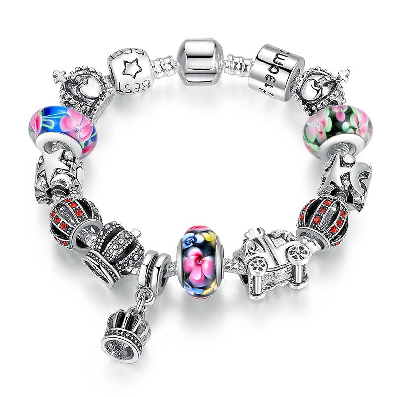 Women's Charm Bracelet with Designer Beads a Hanging Crown