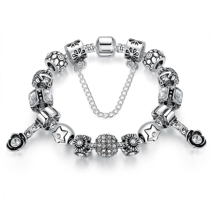 Gorgeous Charm Bracelet for Women with 2 Diamond like Crystal Paved Flower Pendants